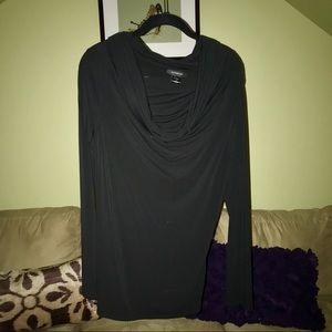 Black draping neckline long sleeved blouse